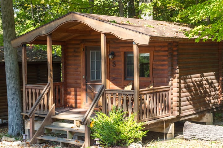 Your cabin at the Spur.  Private porch  and bed  & bath to relax and enjoy.