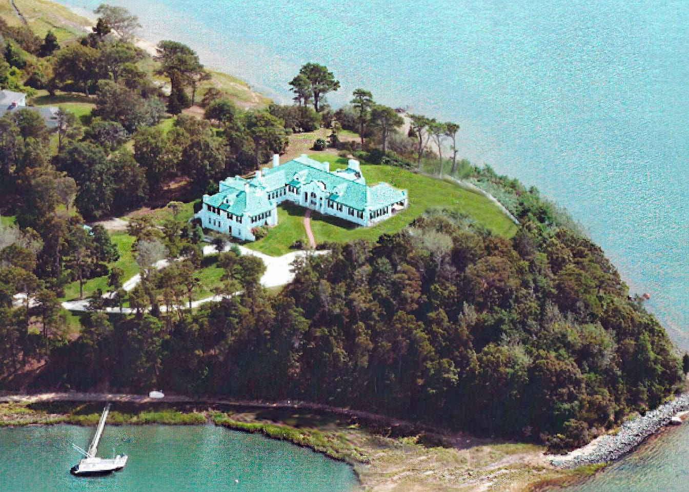 Aerial view of the 3 acre waterfront estate on Pleasant Bay