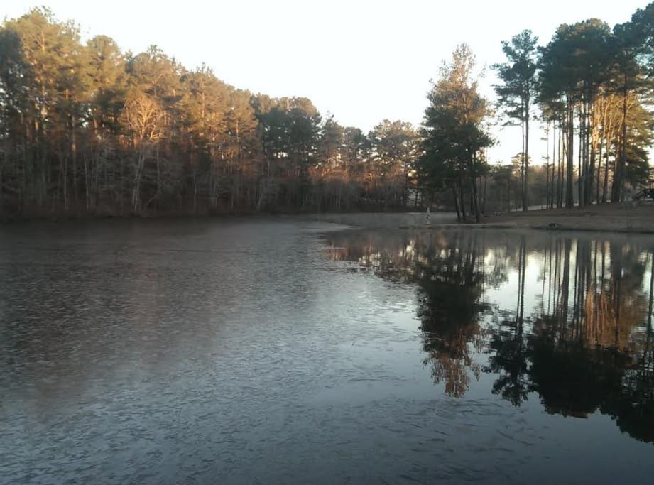 Lake View from your front deck. Enjoy Your Private 6 Acre Lake.  Great Fishing, Paddle Boating, Kayaking and Private Fishing Pier