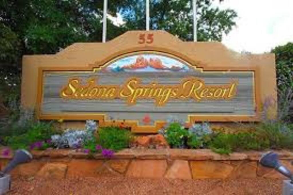 Entrance sign to resort