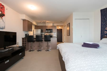 Clean and private modern Studio condo is conveniently located in the heart of downtown. Fully furnished with everything a traveler would need for their stay in Vancouver.