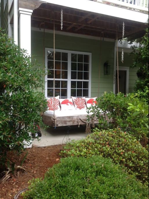 Have coffee on the front porch bed swing