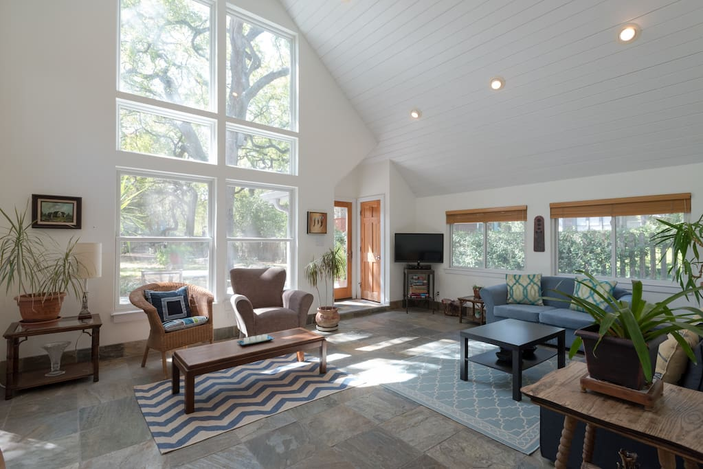 Vaulted ceilings provide a blanket of warm sunshine.