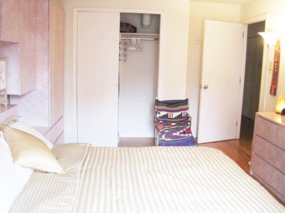 Closet, lockable door.