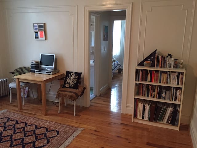 living room - feel free to browse the bookcase!