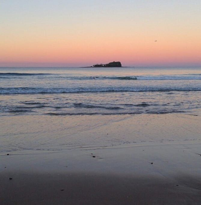 This is Mudjimba beach at Sunset, a 5 min stroll from the house.