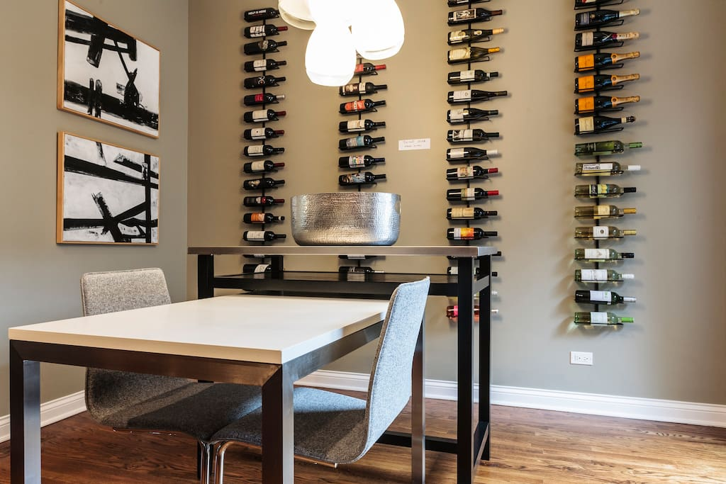 Enjoy a Meal in our Eat-In Kitchen while Admiring the Wine Wall (no drinking, please ;)