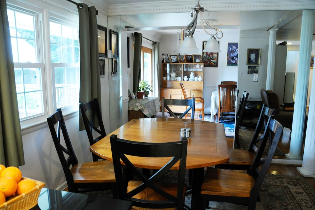 Dining room table where breakfast is served.