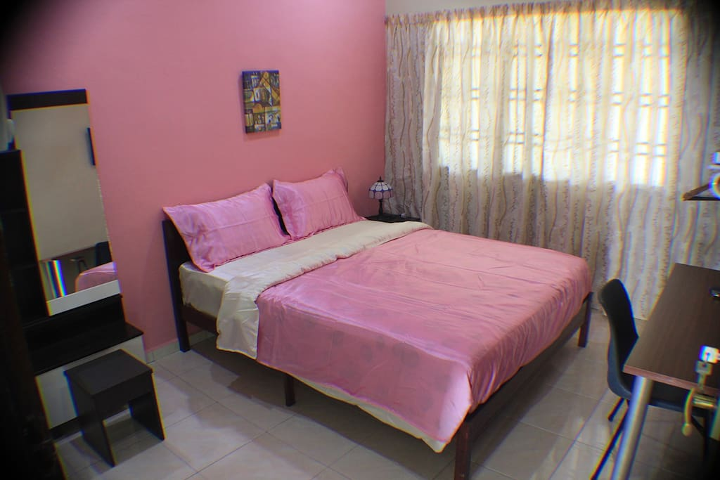 Comfortable Room (attached bathroom) with air conditioning and fan