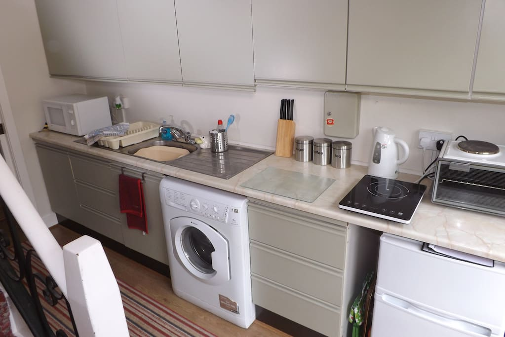 The Galley Kitchen is compact with fridge/freezer, micro wave, single hob kettle toaster etc