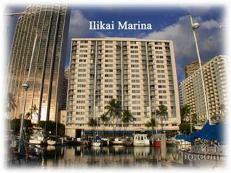 From the Ali Wai Yacht Harbor looking at this condo's building Ilikai Marina #1099