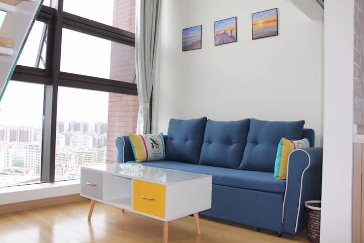 【遇·见】城阳家佳源万象汇利群万达繁华商圈精品loft双层复式公寓