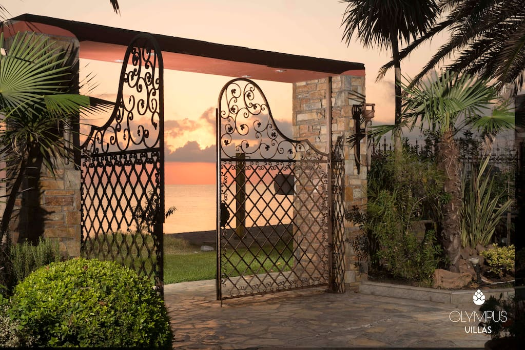 Front gate of the villa leading to the beach