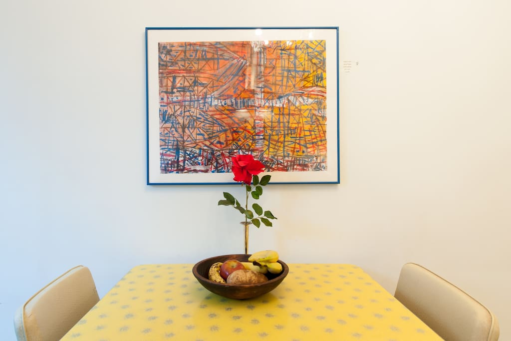 Robert E. Kuhn art over the 1950 Formica table