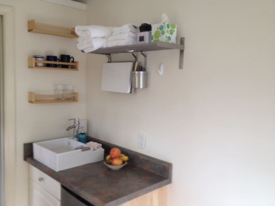 View of kitchenette space with fridge and pantry cabinet.