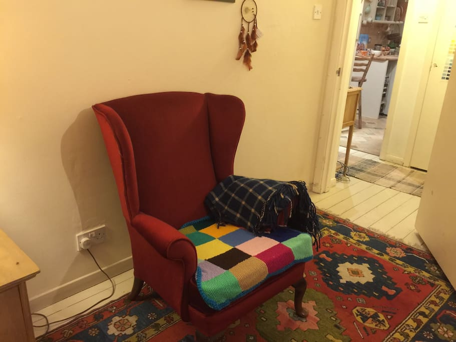 Expectionally comfy chair and Turkish rug