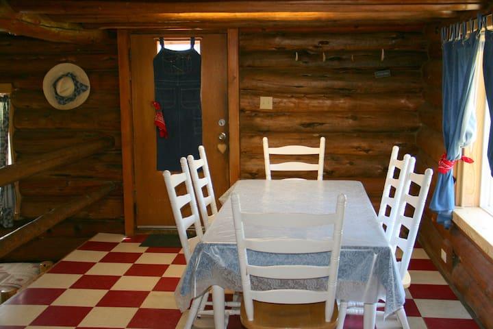 Dining area with window facing Cedar Mountain.