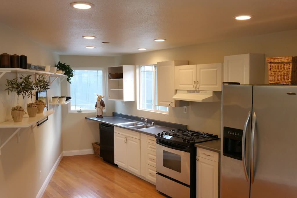 Kitchen area with stainless steel appliances.