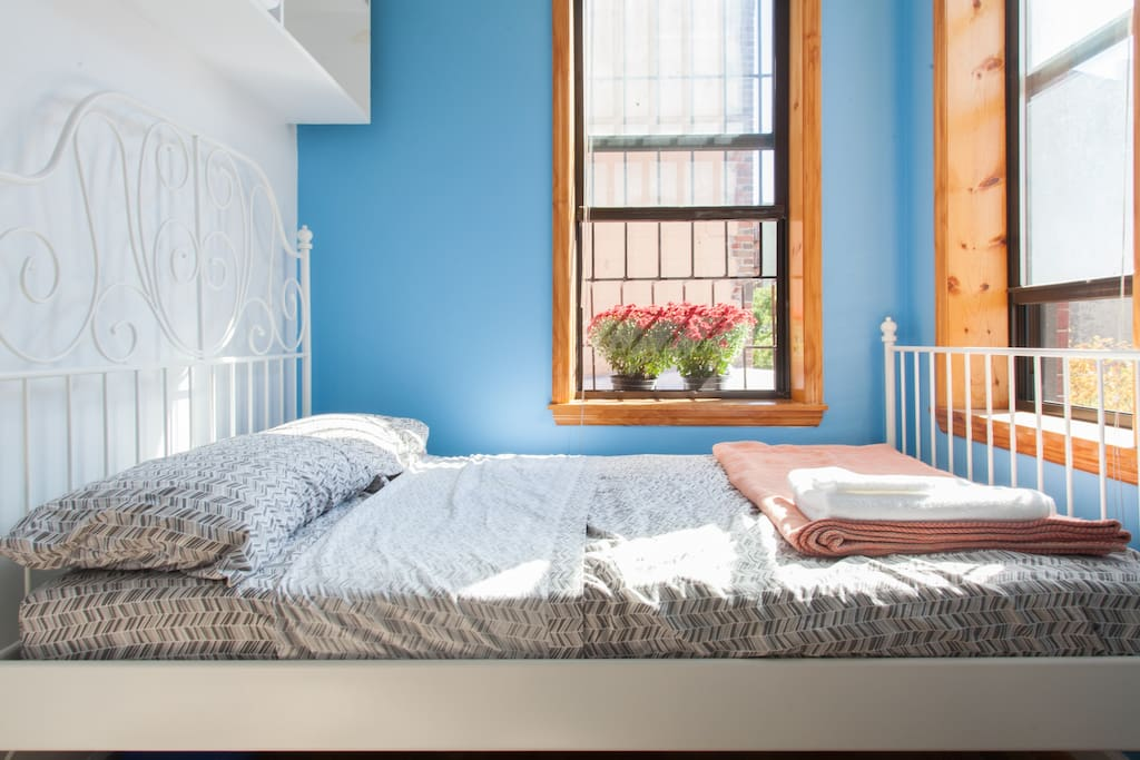 This is your bedroom. There's a dresser, shelving, and space under the bed for your storage needs.