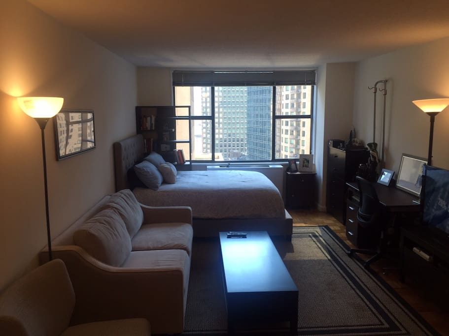 Living area and bed
