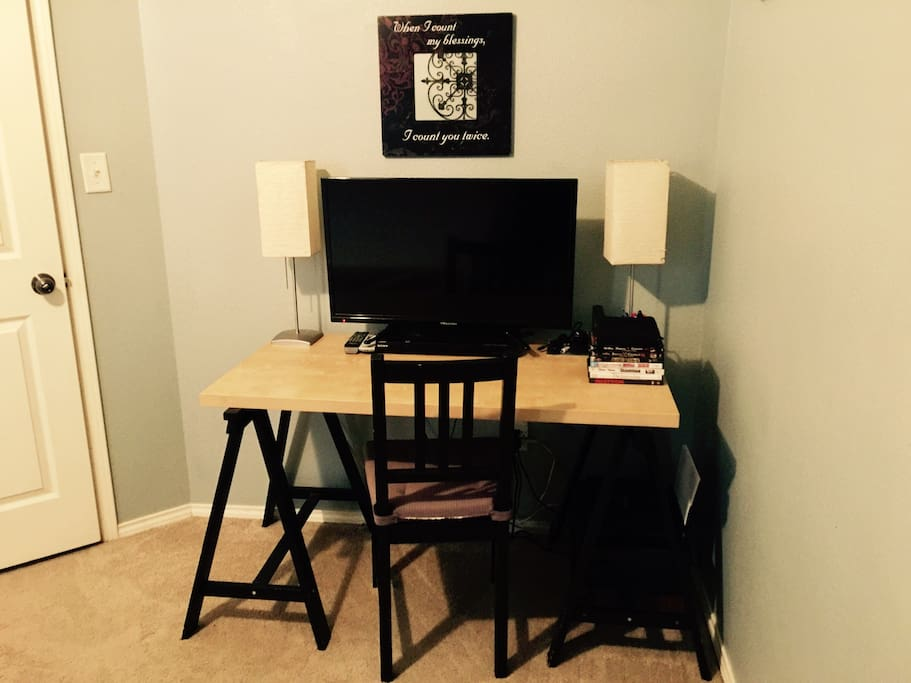 Updated work space complete with TV and DVD player to view movies.