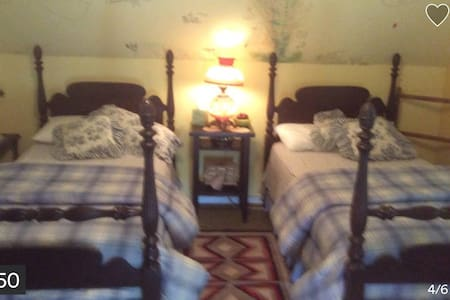 East Wing twin beds at Farmhouse - Louisburg