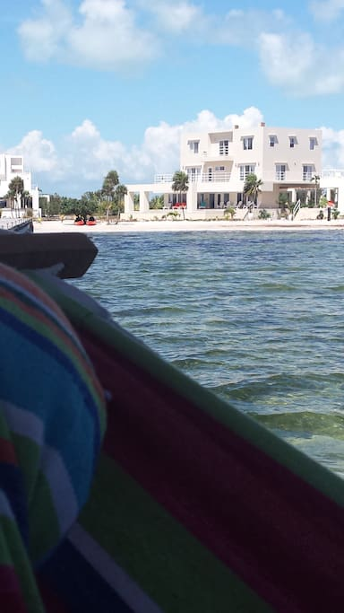 View of Villa #2 from lazy hammock on the pier