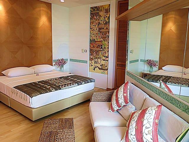 Loft studio with golden river view