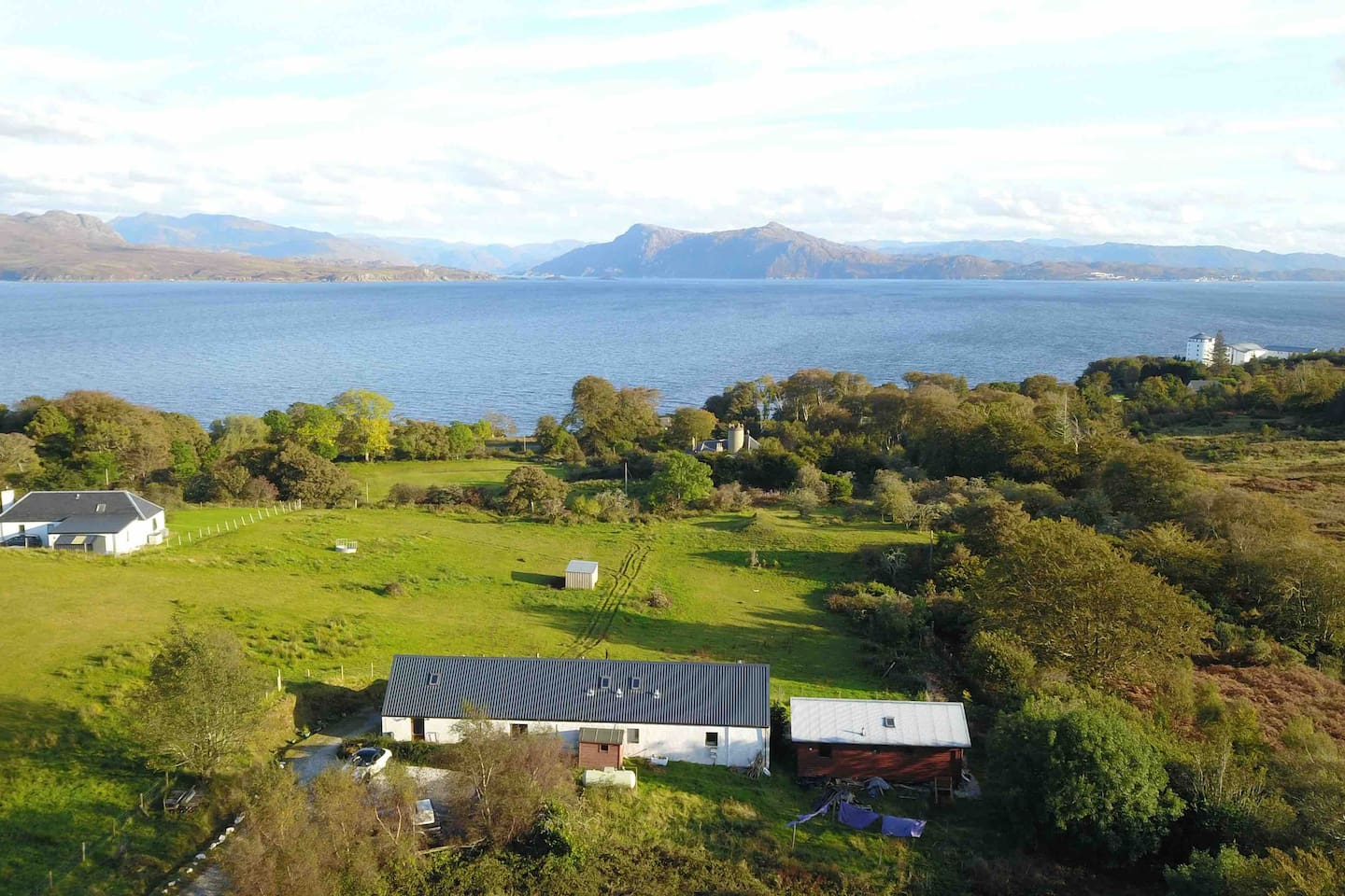 Our hostel in the foreground, the sound of sleat and the Scottish mainland.