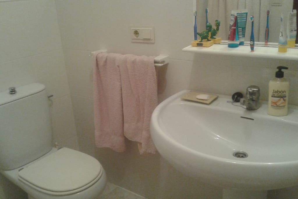 Big, spacious bathroom, clean and comfortable with wc, sink and shower/bathtub.