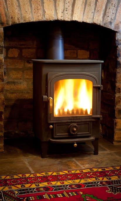 Dinning room wood burner