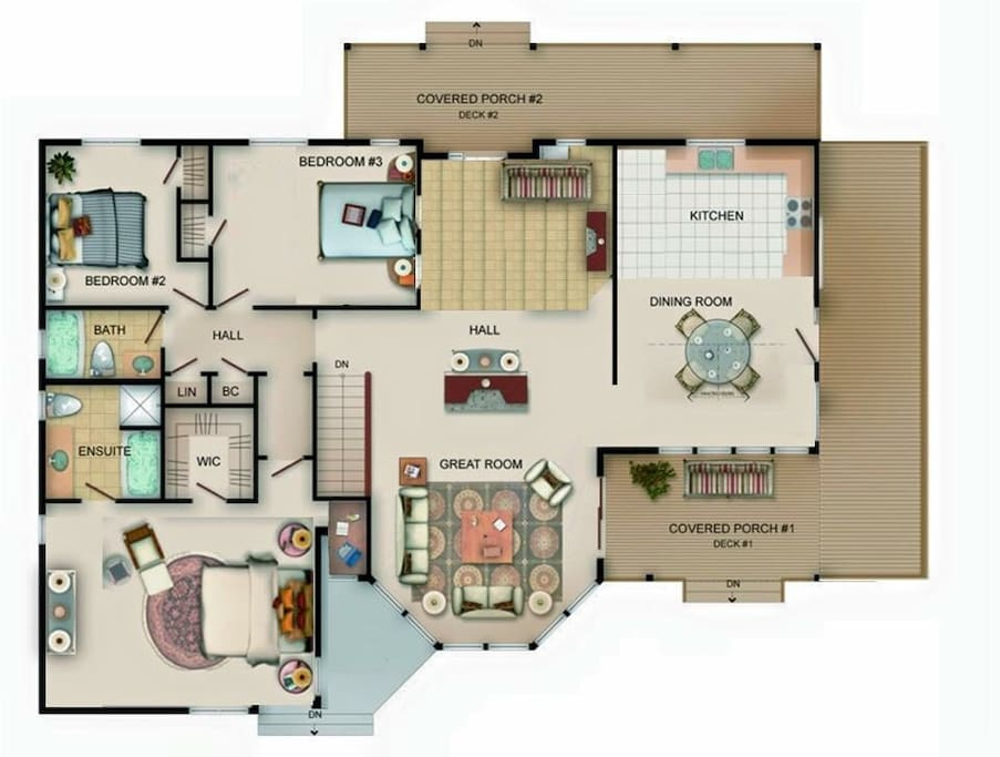 This floor plan is 95% accurate. The door position and sofa are slightly different. This should give a good overall picture of what the house looks like.
