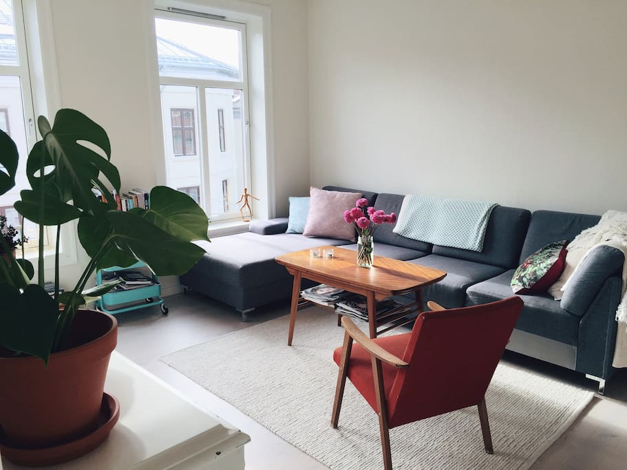 The seating area in the living room.