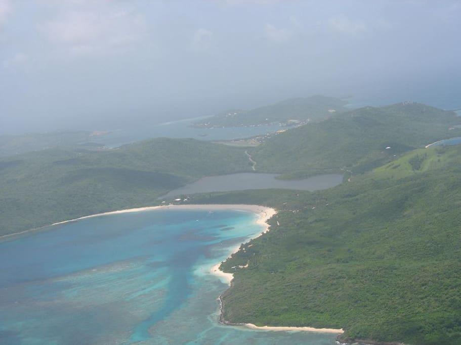 Flamenco Beach seen from the plane approaching for landing in Culebra