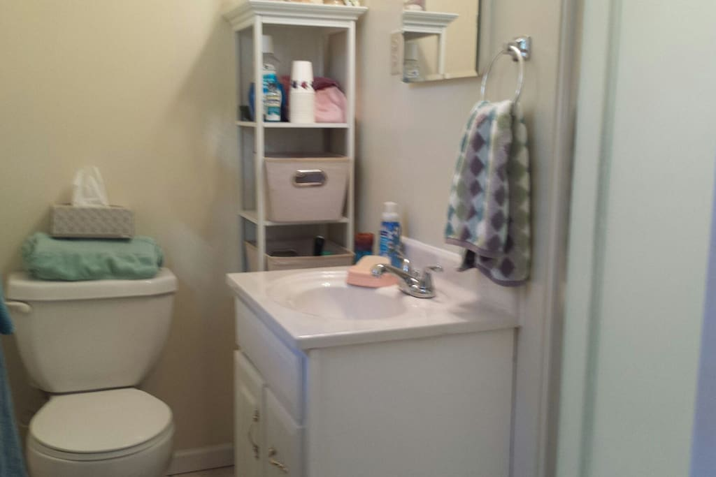All the comforts of home in the private bathroom with shower.