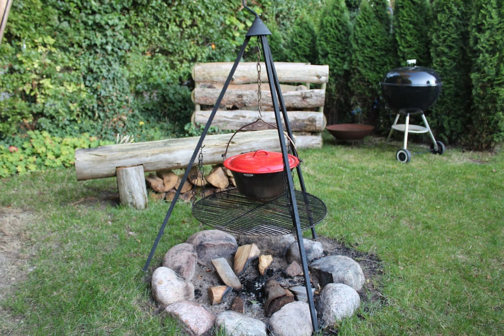 You can prepare your dinner over the fire.