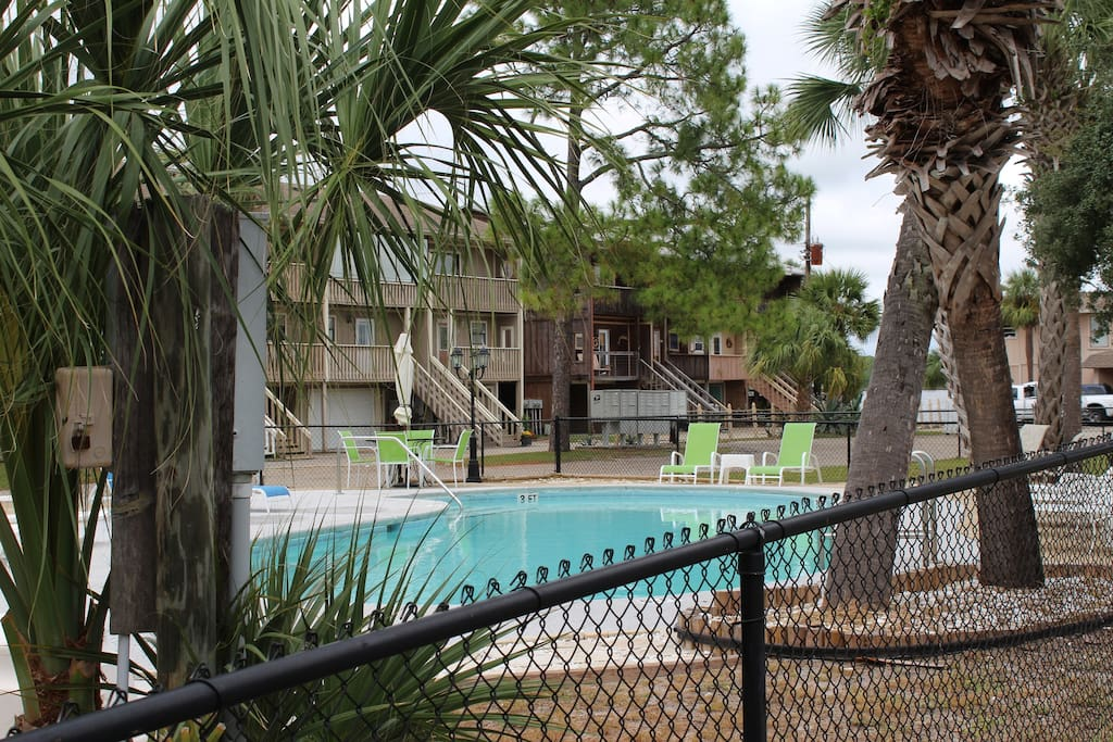 Hang out at the pool just steps away from the condo with a great view of the Powell Lake