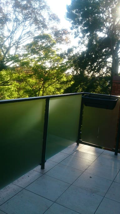 Balcony with lovely views & green trees around