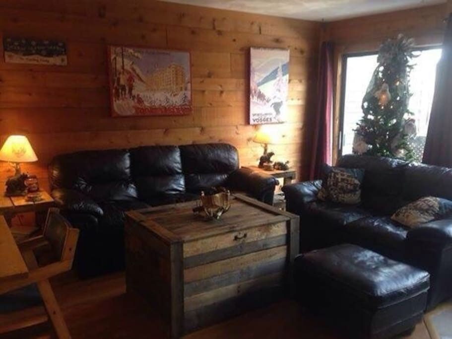 Living room with leather couches