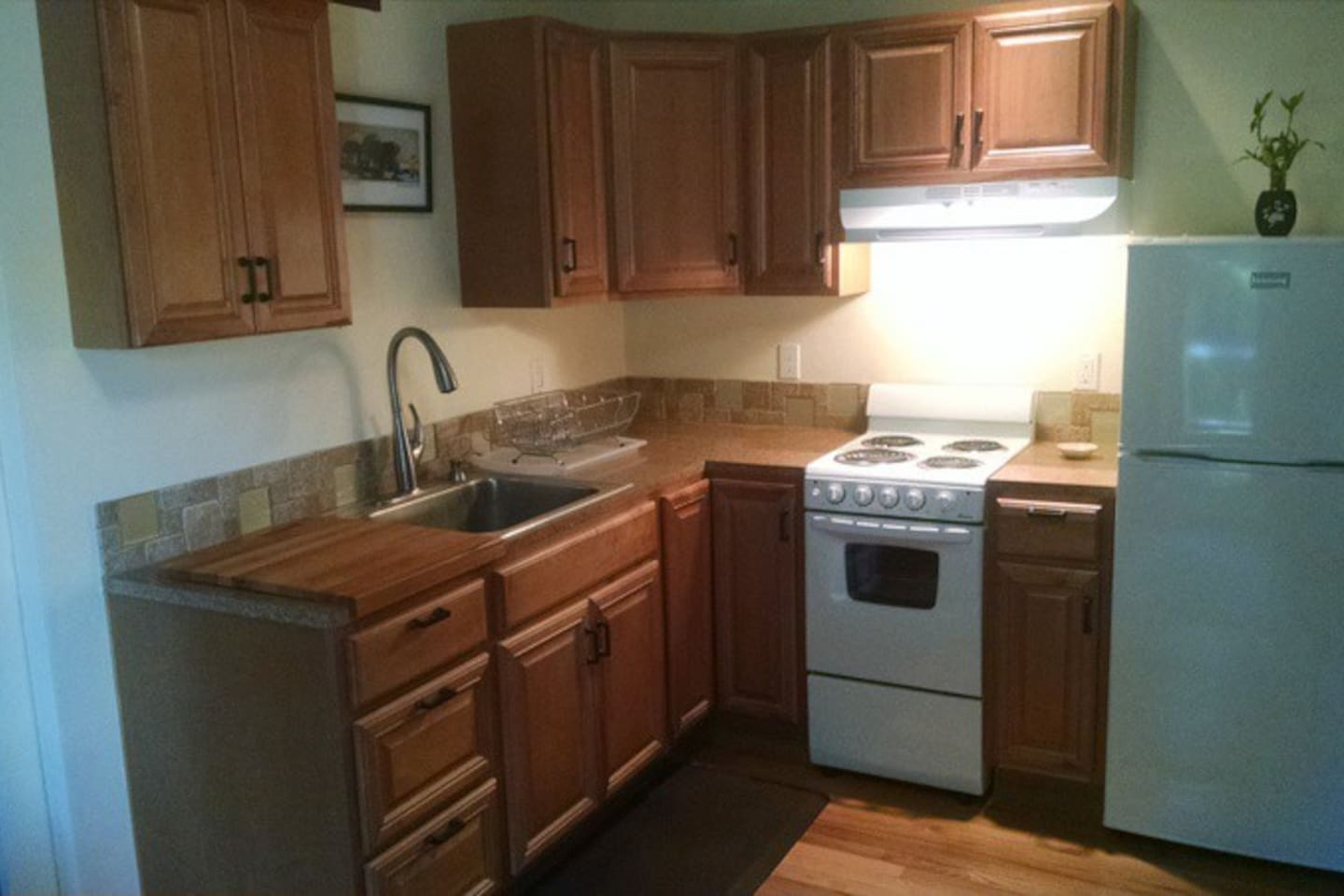 Well equiped efficient kitchen provides everything needed for home away from home.