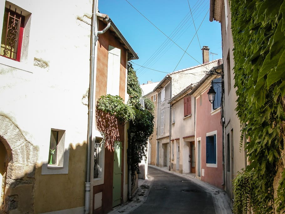 The street with the flat in Lambesc village, typically provencal