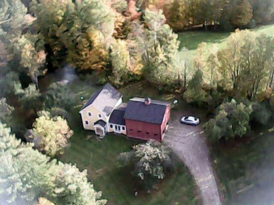 Aerial view of our property.  Apartment is accessed by a staircase on the back side of the garage.