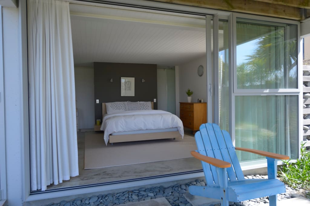 Both the bedroom and sitting room overlook the sand dunes.
