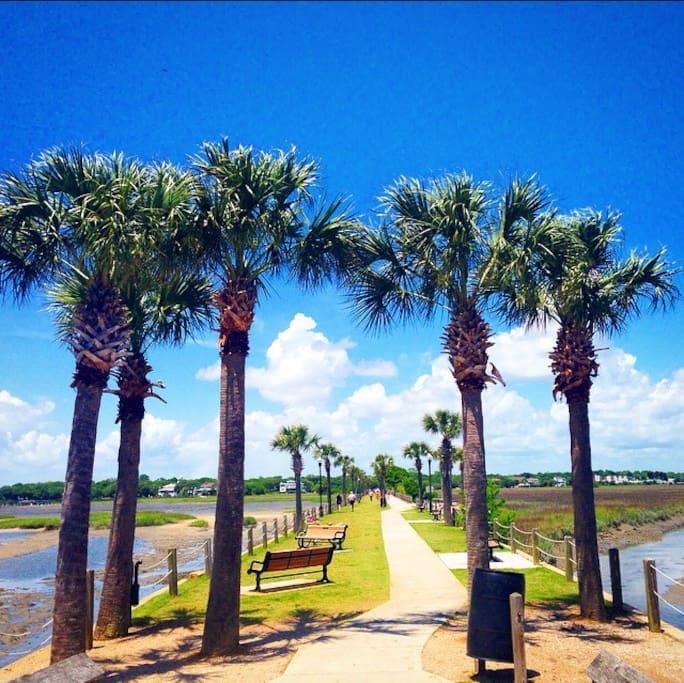Take in stunning views of Sullivan's Island and Downtown Charleston at Pitt Street Bridge just minutes away.