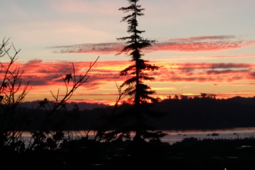 Sunrise over Richardson bay as seen off deck.