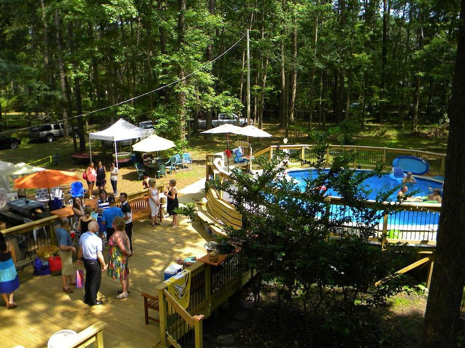 Our back dance deck with attached pool.  (unheated - open May/June to September)