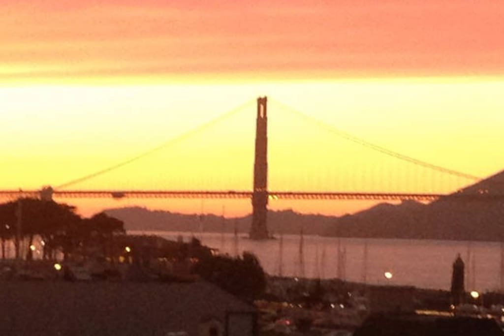 Every evening from the living room or roof; walk right out of the condo to the Golden Gate Bridge