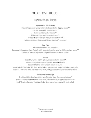 In-house menu at Old Clove House