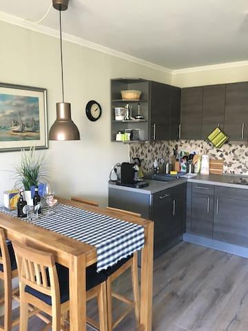 Küche mit 2-Platten Cerankochfeld,Geschirrspüler, Kühlschrank