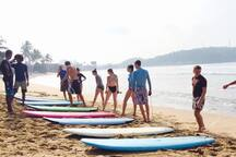 Dewata Beach, just 10 minutes from Old Clove House, and a great spot for beginners/ children to learn surfing